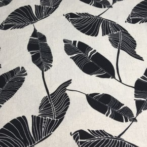 Tissu Viscose et Lin grande feuille noire fond blanc cassé x10cm