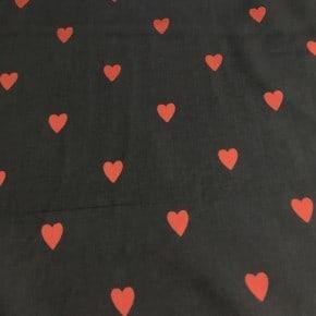 Tissu Tencel Lovehearts Noir x10cm