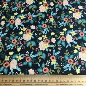 Tissu Coton Cotton+Steel Primavera Fond Noir x10cm