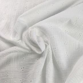 Double Gaze de coton Brodée Blanc x 10cm