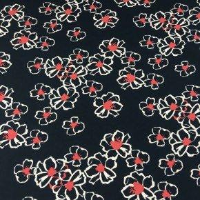 Viscose Noire à fleur blanche et rouge  x10cm