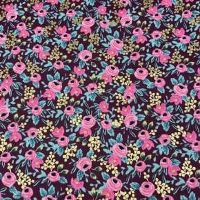 Tissu Coton Cotton+Steel Garden Party Rosa Burgundy Metallic x10cm