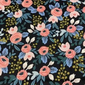 Toile de coton et lin Cotton+steel Rosa Black unbleached x10cm