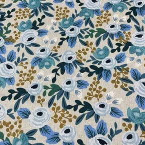 Toile de coton et lin Cotton+steel Rosa Blue unbleached x10cm