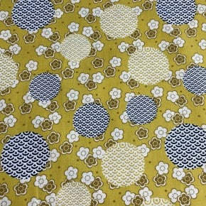 Popeline Ocre Fleurs  Japonisantes x10cm