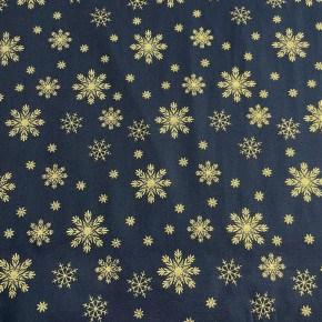 Tissu Etoile des Neiges Marine et Or  x10cm