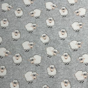 Jersey French Terry Moutons Gris Chiné  x 10cm