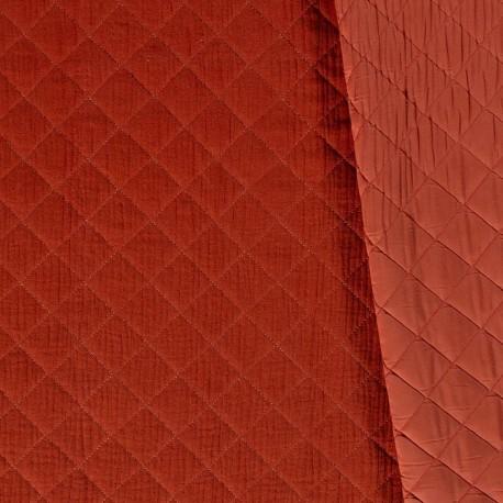 Tissu Double Gaze Matelassé Brique x 10cm