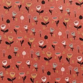 Jersey Poppy Glitter Fleurs Lurex Orangé  x10cm