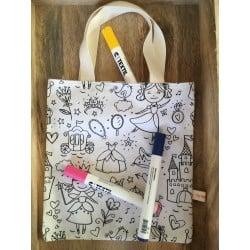 Kit Tote Bag à colorier Princesse By Tatie Fofie