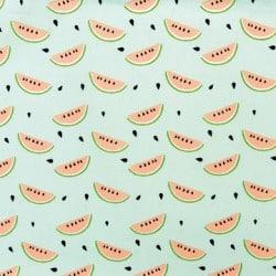 Tissu imprimé melon menthe