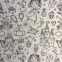 Tissu à colorier Princesse x 10cm