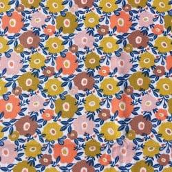 Tissu cretonne fleuri Litchi
