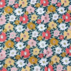 Tissu cretonne fleuri Menthe