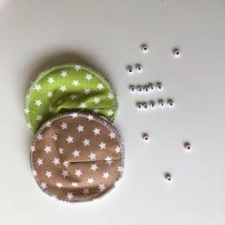Coussinets d'allaitement Taupe Vert Etoile